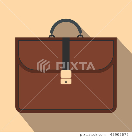 Brown business briefcase flat icon 45903673