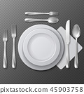 Realistic empty round plate, porcelain dish, steel fork, spoon and knife on table vector 45903758