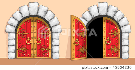 Medieval red wood gate decorated with wrought iron 45904830