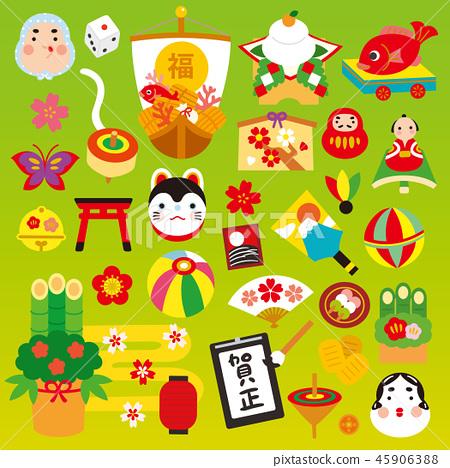 逗人喜愛的新年材料集合新年卡片材料傳染媒介例證材料 45906388