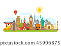 World famous travel landmark, international symbols vector tourism concept background 45906875
