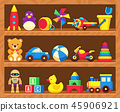Kids toys on wood shop shelves 45906921