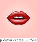 Glamour red woman seductive sexual lips. 3d realistic vector illustration 45907540