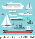 Ships at sea, shipping boats, ocean transport vector icons set 45908168