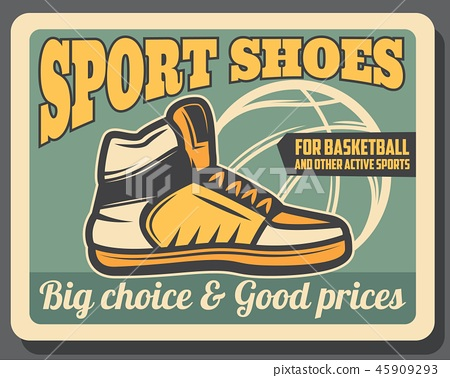 Sport shoe shop vector poster, sportive sneaker 45909293