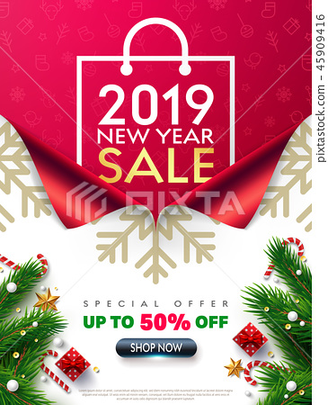 Shopping bag Poster,2019 New year Sale Promotion 45909416