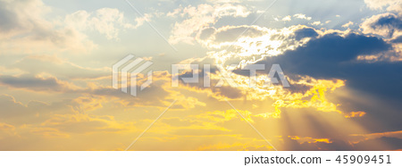 panorama of gorgeous sunset sky with clouds 45909451