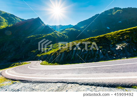 Transfagarasan road in mountains winding uphill 45909492
