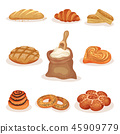 Fresh baked bread and bakery pastry products set, loaf, sweet buns, croissant, bagels vector 45909779
