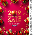 2019 New Year Sale Poster with golden gift box 45909850
