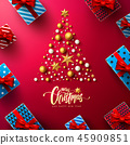 Christmas and New Years Red Poster with gift box 45909851