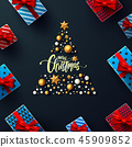 Christmas and New Years Black Poster with gift box 45909852