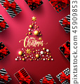 Christmas and New Years Red Poster with gift box 45909853