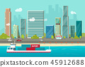Heavy maritime container ship sailing in ocean or sea port with cargo containers vector, flat carton 45912688