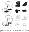 Electric sewing machine, iron for ironing, marking with chalk clothes, roll of fabric and other 45912849