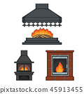 Fireplace, set, collection 45913455