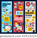 Online shopping and payment linear banners 45914224