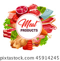 Butchery food frame with meat products 45914245