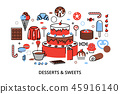 Desserts Sweets flat line 45916140