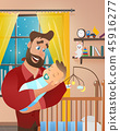 Vector Cartoon Illustration Concept Happy Father 45916277