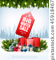 Winter Sale Tag on christmas background  45918467