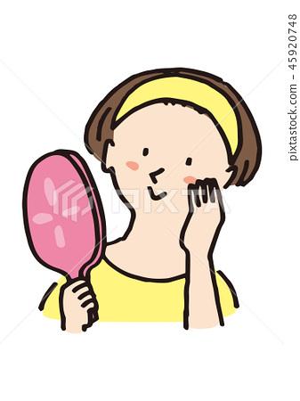 거울을 보는 여자 45920748