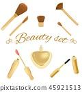Set of cosmetic brushes, mascara, lipgloss and perfume bottle 45921513