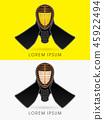 Kendo helmet mask  graphic vector. 45922494