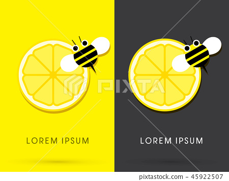 Lemon and bee graphic vector. 45922507