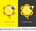 Honey and lemon with bee on honeycomb vector 45922508
