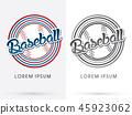Baseball text, on outline ball and line circle   45923062