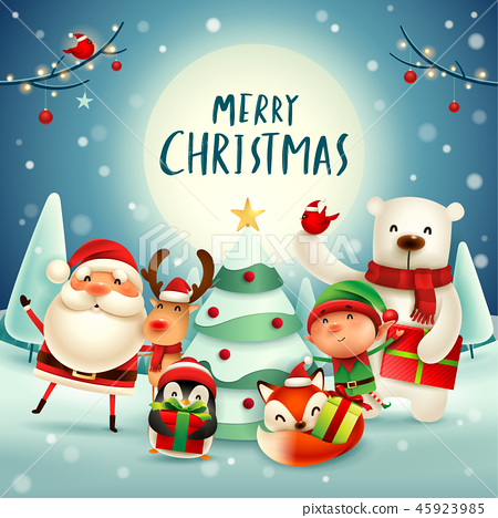 merry christmas happy christmas companions stock illustration 45923985 pixta https www pixtastock com illustration 45923985