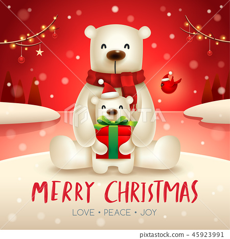 Polar Bear and baby cub in Christmas snow scene. 45923991