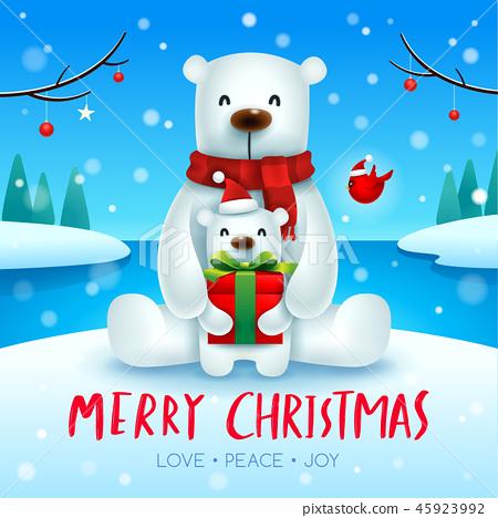 Polar Bear and baby cub in Christmas snow scene. 45923992