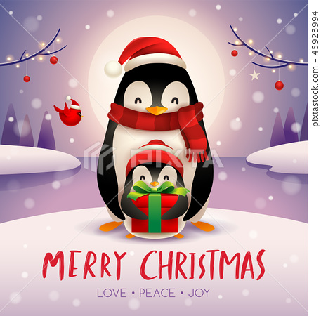 Penguins in Christmas snow scene. 45923994