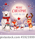 Merry Christmas! Christmas Cute Animals Character. 45923999