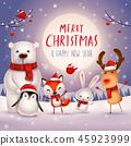 Merry Christmas! Christmas Cute Animals Character. 45923999