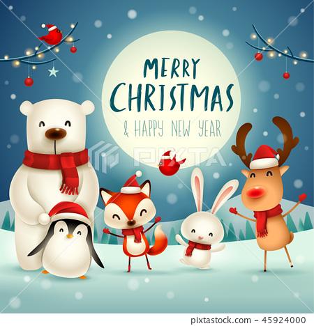 Merry Christmas! Christmas Cute Animals Character. 45924000