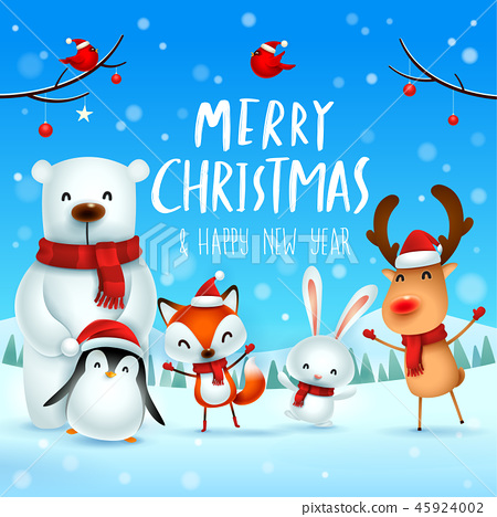 Merry Christmas! Christmas Cute Animals Character. 45924002