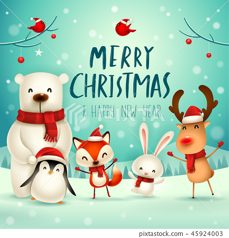 Merry Christmas! Christmas Cute Animals Character. 45924003