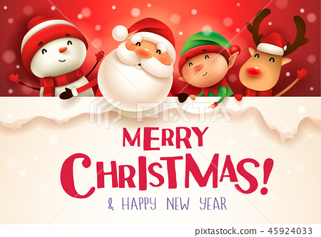 Happy Christmas companions with big signboard. 45924033