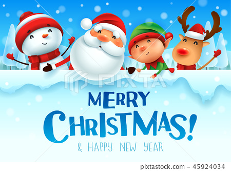 Happy Christmas companions with big signboard. 45924034