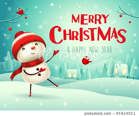 Merry Christmas! Snowman in the snow scene. 45924051