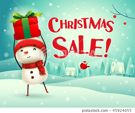 Christmas sale! Snowman in the snow scene. 45924055
