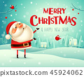 Merry Christmas! Santa Claus in the snow scene. 45924062