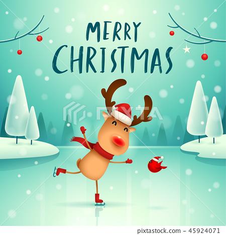 Merry Christmas! Reindeer in the snow scene. 45924071