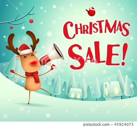 Christmas sale! Reindeer in the snow scene. 45924073