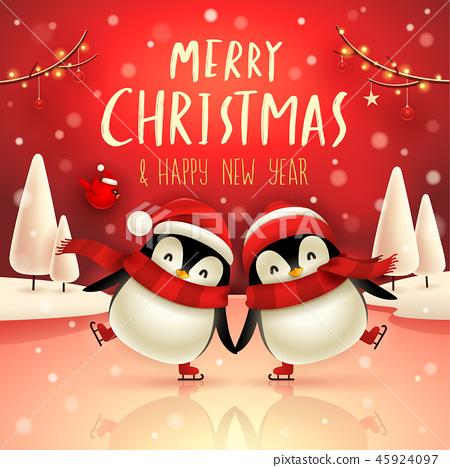 Little penguins on skates in Christmas snow scene. 45924097