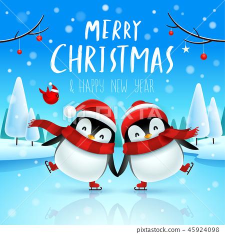 Little penguins on skates in Christmas snow scene. 45924098