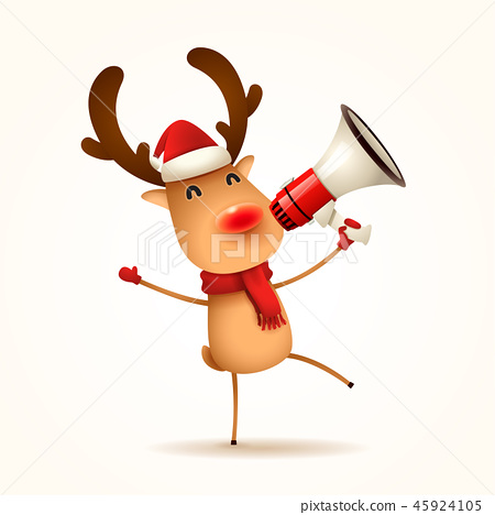 The red-nosed reindeer with megaphone. Isolated. 45924105